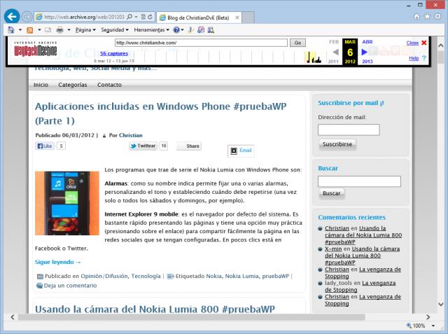Imagen del blog el 6 de marzo de 2012 en Wayback machine