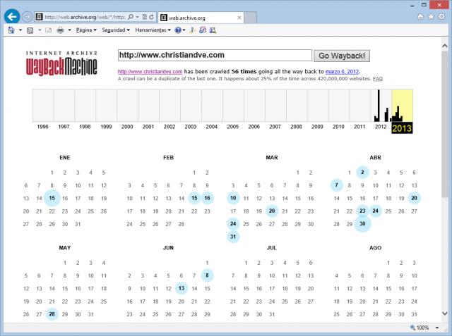 Instantáneas de este blog en Wayback machine