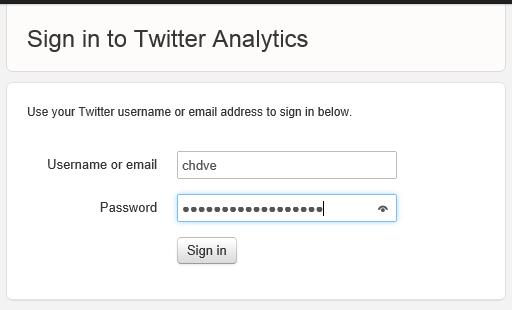 Iniciar sesión en Twitter Analytics