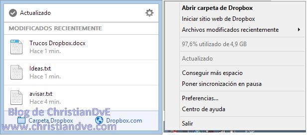 Menú nuevo de Dropbox frente al antiguo