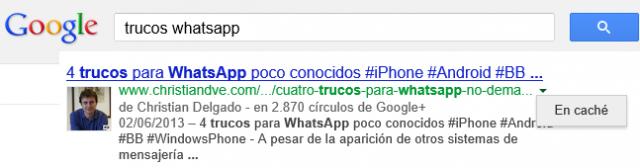 Resultados de Google en caché