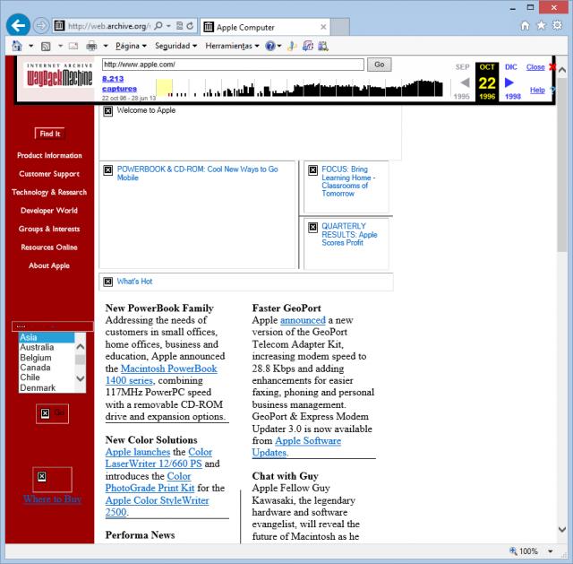 Web de Apple el 22 de octubre de 1996