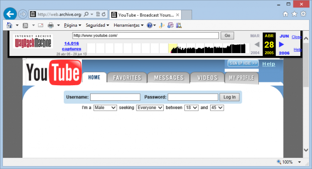 YouTube el 28 de abril de 2005