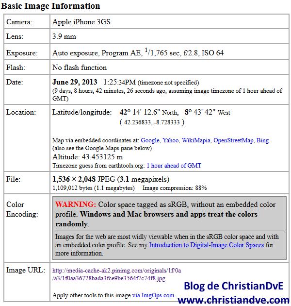 Configurar los datos Exif en Pinterest (subida la imagen vía web)