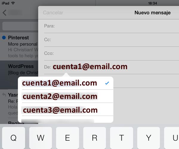 Seleccionar la cuenta de correo electrónico a utilizar para enviar un correo electrónico o una respuesta en el iPhone, iPad o iPod touch