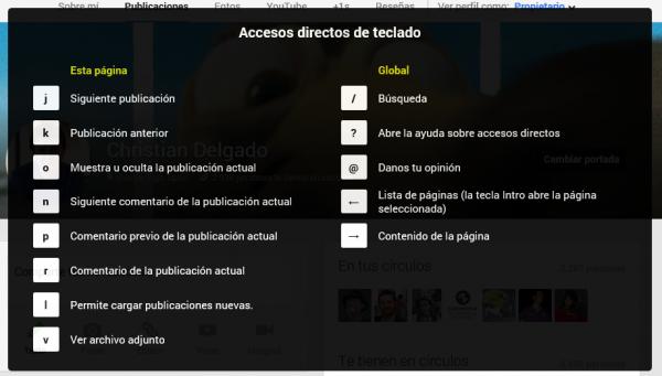 Accesos directo de teclado de Google+ (Google Plus)