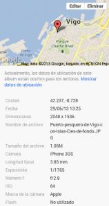 Información de la foto en Google+