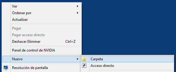 Crear carpeta en Windows 8