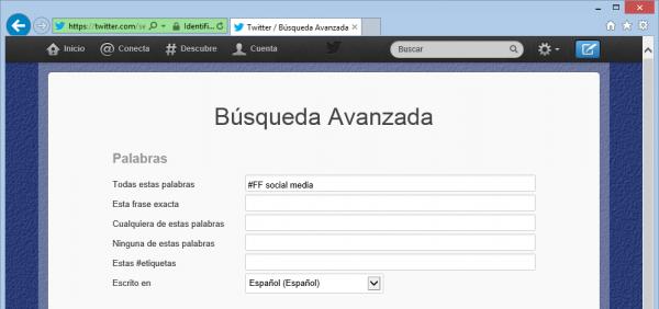 Buscador avanzado: #FF social media en Twitter