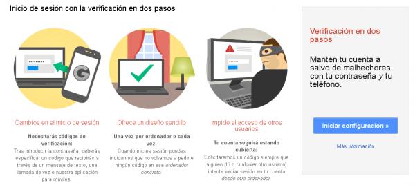 Asistente para la activación de la verificación en dos pasos de Google