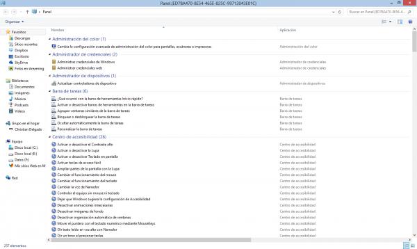 Panel God Mode en Windows 8