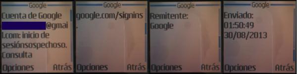 SMS recibido de actividad sospechosa en la página de Google