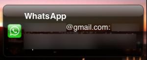 WhatsApp mensaje en el que el nombre es un mail