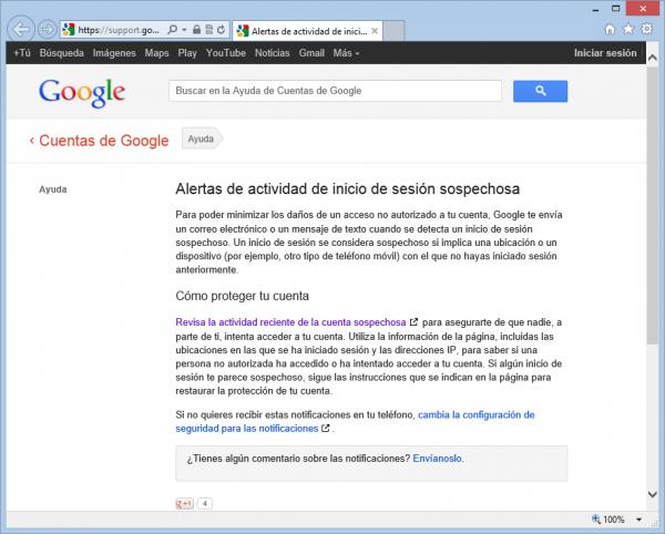 Alertas de actividad de inicio de sesión sospechosa en Google