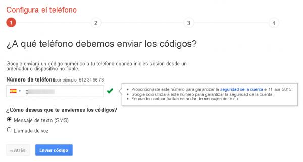 Configurar el teléfono en la autenticación en dos pasos de Google