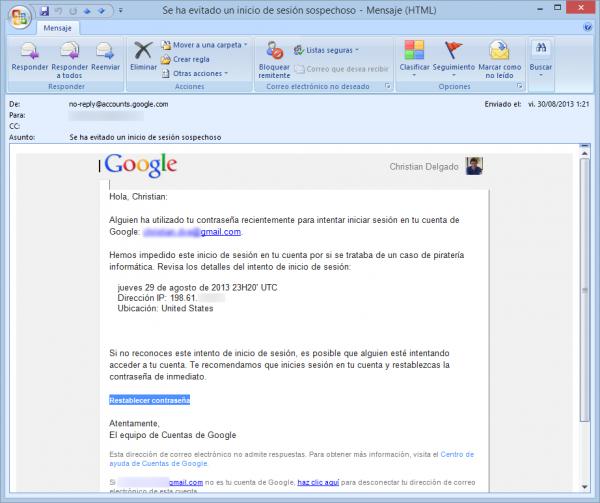 Correo de aviso de Google de actividad sospechosa