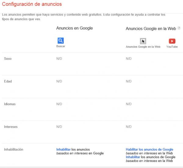 Configuración de los anuncios tras borrar la cookie de Google