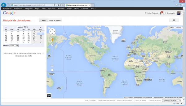 Historial de ubicaciones que mantiene Google en Google Dashboard