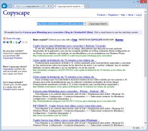 Ejemplo de Copyscape detectando copias de mis artículos