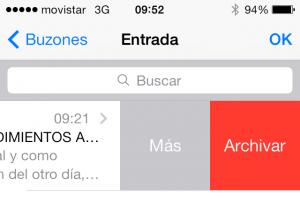 Cuenta de Gmail en iOS 7 - Archivar