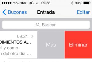 Correo de Gmail en iOS 7 - Eliminar
