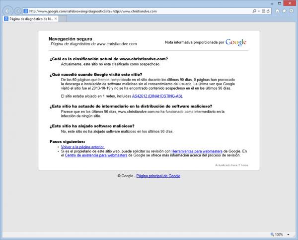 Navegación segura de Google - Página de información