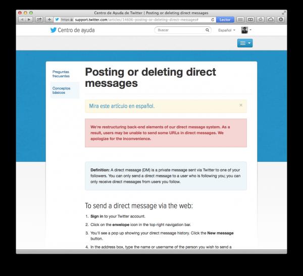 Twitter reconoce problemas a la hora de enviar mensajes directos DM con enlace
