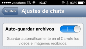 WhatsApp - Autoguardar archivos
