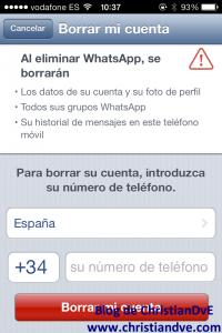 Borrar la cuenta de WhatsApp