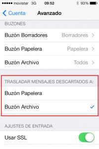 """Ajustes de Mail en iOS 7 """"Trasladar mensajes descartados a"""""""