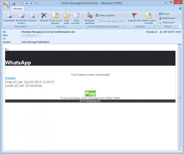 Correo voice message notification de WhatsApp (falso)