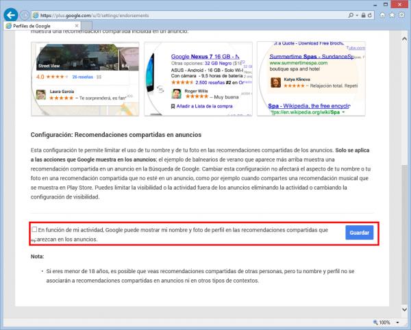 No mostrar mi nombre y foto de perfil de Google+ en las recomendaciones-compartidas que aparezcan en los anuncios