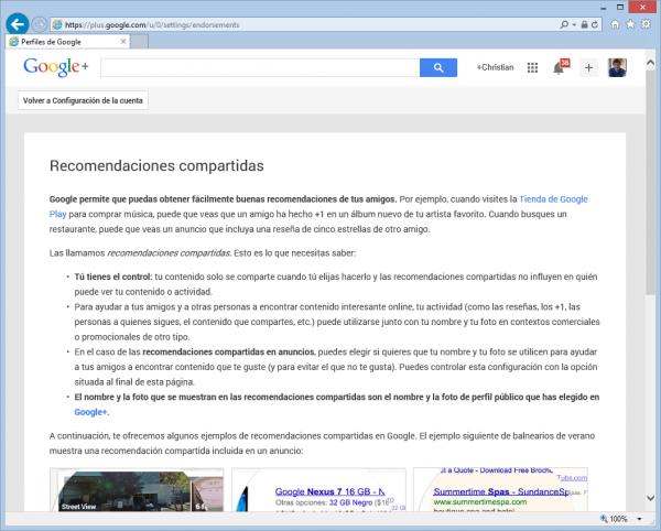 Página de Google donde cambiar las recomendaciones compartidas