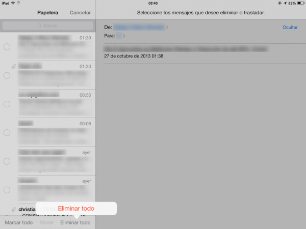 Vaciar la papelera desde iPhone, iPod, iPad en Mail