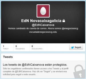 Twitter antiguo de la Escuela de Negocios Novacaixagalicia