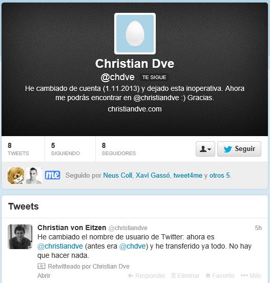 Cuenta @chdve inactiva