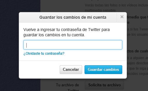 Guardar los cambios en los ajustes de Twitter