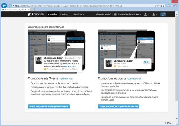 Lanzar una nueva campaña en Twitter Ads