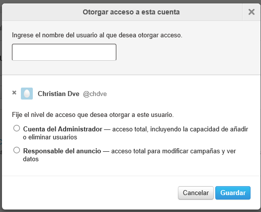 Conceder acceso a Twitter Ads