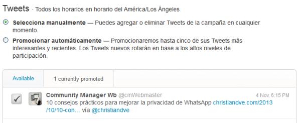 Selección de tuits a promocionar en Twitter Ads