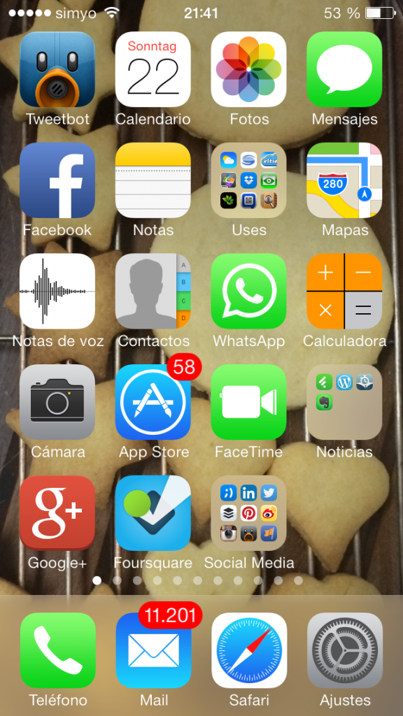 Captura de pantalla del iPhone 5S