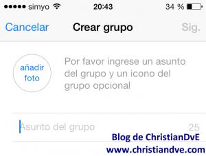 Crear un grupo en WhatsApp