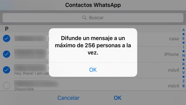 Límite lista de difusión de WhatsApp: difunde un mensaje a un máximo de 256 personas a la vez