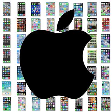 Pantalla de inicio de iPhone y apps más utilizadas de 82 usuarios de redes sociales