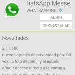 Actualización 2.11.186 de WhatsApp