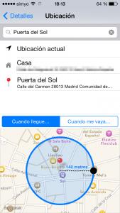 Configurando la distancia a 140 metros: recordatorios por ubicación geolocalizados en el iPhone