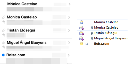 Correos por IMAP en el iPhone (izquierda) y en el PC (derecha): se observa que en los leídos aparecen como leídos e incluso tienen el icono (flechita) de respondidos los que fueron contestados