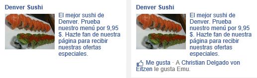Ejemplo de anuncio social en Facebook