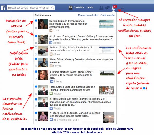 Recomendaciones para mejorar las notificaciones de Facebook