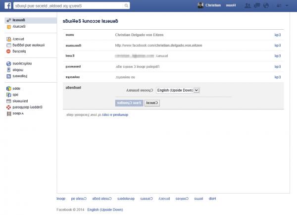 Facebook en inglés y con las letras al revés